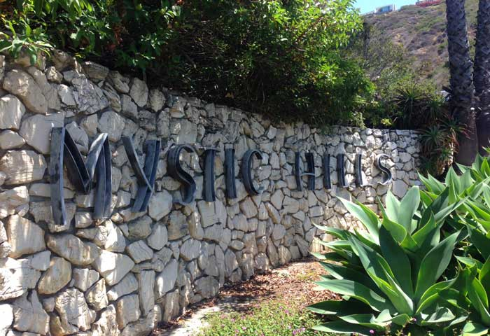Mystic Hills community sign in Laguna Beach, California